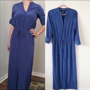 Chico's Black Label Blue Utility Maxi Dress Size 2